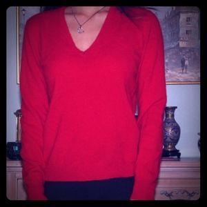 Ralph Lauren red cashmere sweater v- neck m